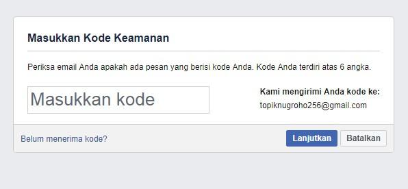 Masukkan Kode Keamanan FB