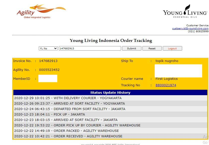 Status Tracking Young Living